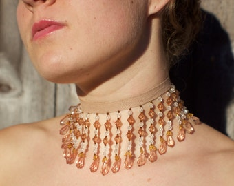 Long, Light Brown Beaded Choker