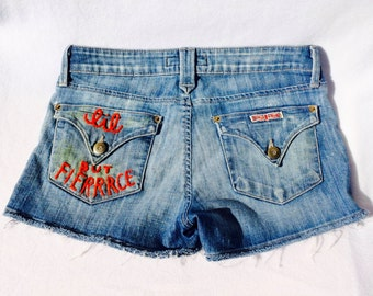 "The ""Little but Fierce"" Hand Embroidered Denim Shorts"