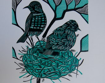 Linocut Fledgling, Original Linocut Print, Two Blackbirds, Nest in a tree, Turquoise and Black, Farewell
