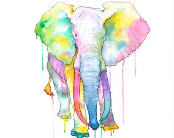 Rainbow Elephant - Giclée Art Print- Watercolor Gauche and Ink Painting - Drawing Illustration