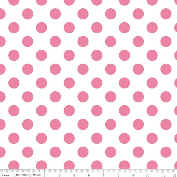 Pink Polka Dot Fabric - Riley Blake Medium Dot - Pink and White Dot Fabric