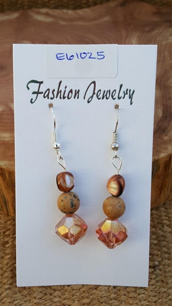 Tan Jasper Mother of Pearl Earrings / Jasper Earrings / Dangle Earrings / Hippie Earrings / Boho Jewelry /E61025