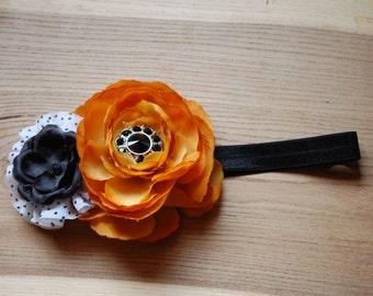 Baby Headband Orange Black Polkadot Halloween/fall  (osfm)