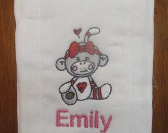 Sock Monkey embroidered burp cloth Personalized