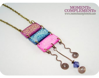 Pendant style ladder of clay polymer and bronze. Handmade tables stamped necklace. Unique design.