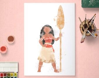 Moana, Disney Princess, Moana Poster, Watercolour Art, Printable Instant Download