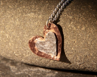 Silver and copper heart pendant / necklace with hammered texture finish, handmade in Cornwall