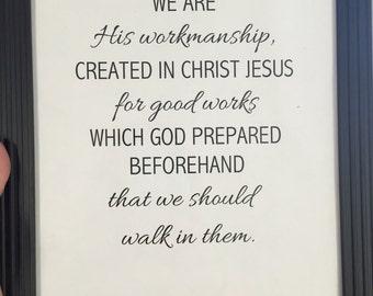 Ephesians, Printable Bible Verse, His workmanship, Instant Download