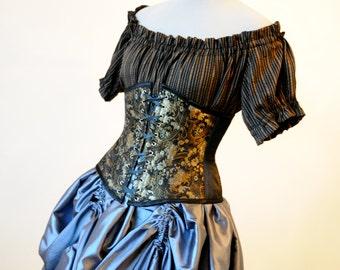 50% OFF Black Brocade Corset Underbust Victorian Steampunk corset Gothic Clothing Cosplay Halloween Costume Corset Pirate waist cincher