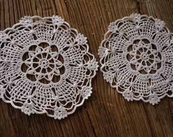 Vintage Crotchet Doilies, 2 Matching Coaster Doilies, Wedding doilies, Flower doilies, Granny's doilies, cotton crothet doilies, art