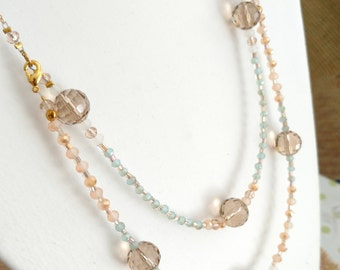 Handmade beaded chain necklace, gold, elegant necklace, peach beads, christmas gifts for her