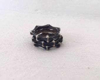 Oxidized Silver Ring, Sterling Silver Stacking Rings, Black Ring For Women, Faceted Ring, Minimalist Ring, Edgy Ring, Everyday Silver Ring