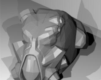 Fallout 4 Enclave cosplay helmet x-01 replica digital pepakura plans or for 3-D print