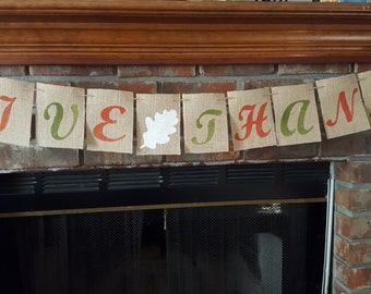 Give Thanks Banner, Thanksgiving Banner, Give Thanks Burlap Banner, Thanksgiving Decor, Thanksgiving Photo Prop BSC-080