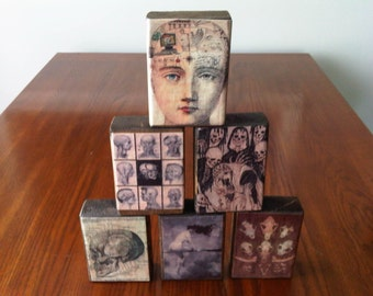 Set of 6 Wood Blocks, Horror, Cabinet of Curiosities, Halloween, Witch, taxidermy, occult
