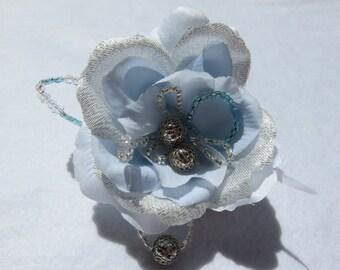 Light blue flower hair pin