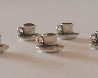 5 Coffee cup charms 3D / bulk teacup charms / coffee charm / coffee pendant / coffee addict / cup and saucer / reading / student / tiny cup