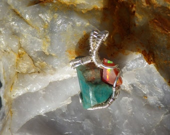 Amazonite and opal wire wrapped pendant