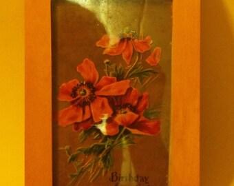 Framed Vintage post card, art by Liz