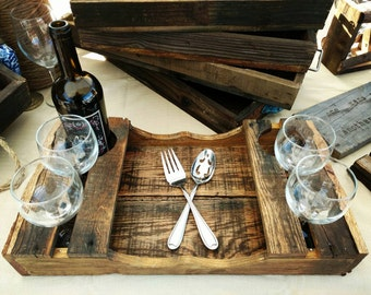 Reclaimed Wood Wine Party Serving Tray, Wood Wine Serving Tray, Rustic Wine Party Tray, Reclaimed Wood Wine Party Tray, Wood Party Tray