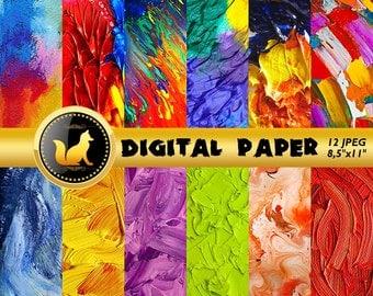 Rainbow Background, Paint Digital Paper, Abstract Paint Texture,Paint Scrapbook Paper,Paint Splash Background,Paint Backdrop,digital paper