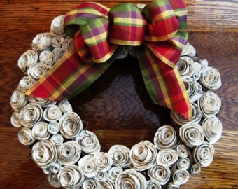 8 Inch Rose Wreath, Rose Wreath with Bow