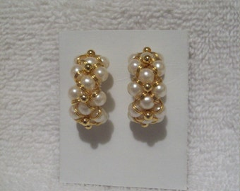 Imitation Pearl with Gold Tone Beads Earrings