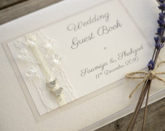 Personalised Wedding Guest Book. Lovebirds Wedding Guest Book. Wedding gift / keepsake. Handmade Original Design.