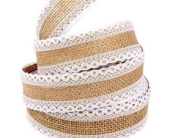 3 meters of Ribbon of jute decoration scrapbooking 3.7 cm lace white