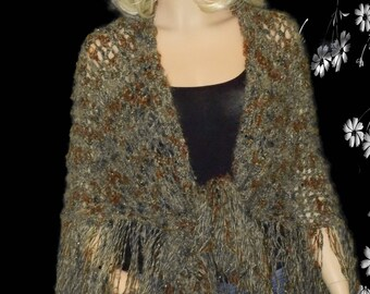 Hand Knitted Shawl,Knitted  Shawl,Metallic sparkle Shawl,Shawl with a flinge,Mohair Wrap,Knitted Wrap,Knitted Scarv