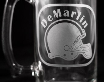 Large Customized Mug Etched with Football Helmet and Name