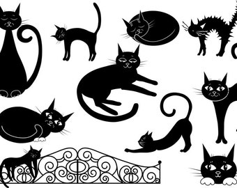 Сat clipart, black cat clipart, vector clipart, cartoon, Digital, Painted, cat, black cat, clip art, Cats silhouettes