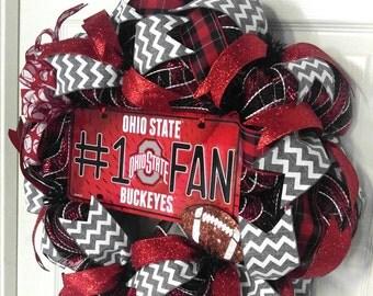 Ohio State Buckeye's Wreath Ohio State Wreath College Football Wreath Buckeye Wreath