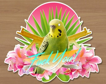 Poolside Parakeet Sticker