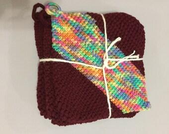 Grandma's Crocheted Burgundy Pot Holders