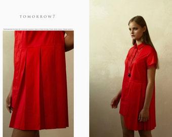 shirt dress by tomorrow7 / red dress / mini dress / cotton dress