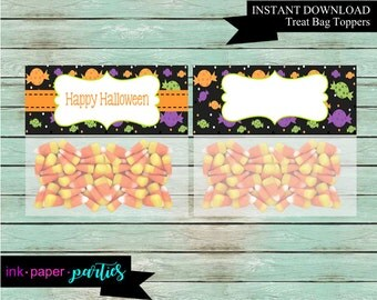 Halloween Party Favors Favor Bag Treat Toppers Digital File Instant Download