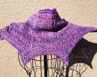 hand knit with handspun yarns- heathered purples cowl