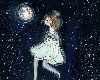 Moonlight. Watercolor Print.