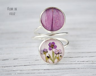 Real flower ring - epoxy resin jewelry - Ring with real hydrangea - Pink hydrangea petal - Adjustable Ring