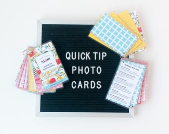 "Quick Tip Photo Cards: Photography ""Cheat Sheets"" for Moms - Photography Reference Cards For Your Camera Bag"