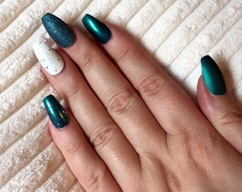 A set of hand painted false nails. Full cover. COFFIN. Matte and Gloss Teal blue green. NEW UK