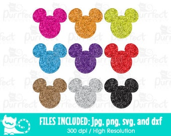 Mickey Mouse Glitter Head SVG, Disney Mickey Glitter SVG, Disney Digital Cut Files in svg, dxf, png and jpg, Printable Clipart