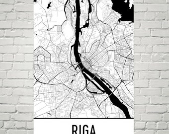 Riga Map, Riga Art, Riga Print, Riga Latvia Poster, Riga Wall Art, Riga Gift, Riga Poster, Map of Riga, Riga Decor, Riga Map Art Print