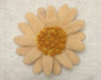 Felted sunflower brooch