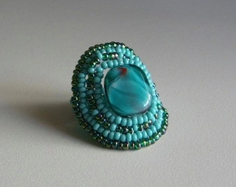 Turquoise Square Beaded Ring