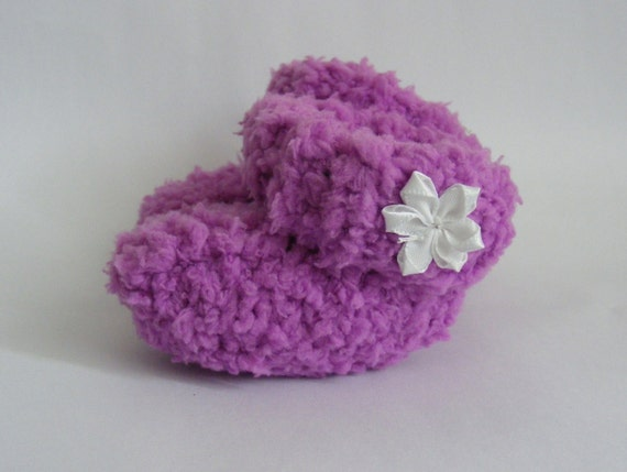 Handmade Knitted Baby Booties, Pink