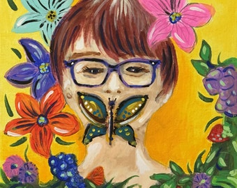 Butterfly Girl Art painting on canvas