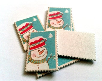 10 stamps wood snowman