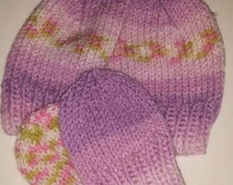 Newborn hat and mitten set